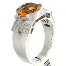 Genuine 18K White Gold 2.70ctw Citrine & Diamond Ring