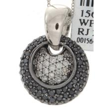 Genuine 14K White Gold 1.39ctw White & Black Diamond Pendant