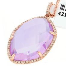 Genuine 14K Rose Gold 14.70ctw Amethyst & Diamond Pendant