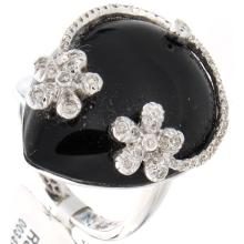 Genuine 14K White Gold 22.60ctw Onyx & Diamond Ring
