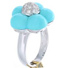 Genuine 18K White Gold 7.10ctw Turquoise & Diamond Ring