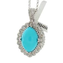 Genuine 14K White Gold 4.13ctw Turquoise & Diamond Pendant