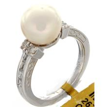 Genuine 18K White Gold 6.96ctw Pearl & Diamond Ring