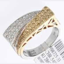 Genuine 14K 2Tone Gold 0.93ctw White & Yellow Diamond Ring