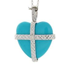 Genuine 14K White Gold 11.85ctw Turquoise & Diamond Pendant