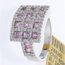 Genuine 18K White Gold 2.21ctw Pink Sapphire & Diamond Ring