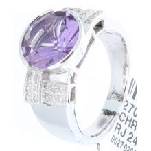 Genuine 18K White Gold 2.94ctw Amethyst & Diamond Ring