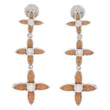 Genuine 14K 2Tone Gold 0.60ctw Diamond Earrings