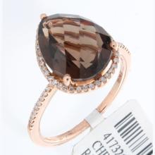 Genuine 14K Rose Gold 4.58ctw Smokey Topaz & Diamond Ring
