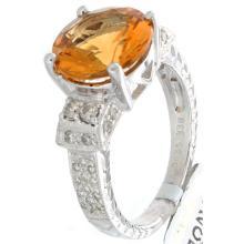Genuine 18K White Gold 3.73ctw Citrine & Diamond Ring