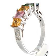 Genuine 14K White Gold 2.67ctw Rainbow Sapphire & Diamond Ring
