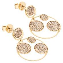 Genuine 14K Yellow Gold 1.10ctw Diamond Earrings