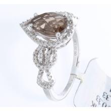 Genuine 14K White Gold 1.66ctw Smokey Topaz & Diamond Ring
