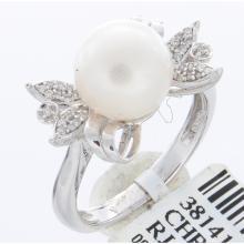 Genuine 14K White Gold 5.69ctw Fresh Water Pearl & Diamond Ring