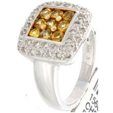 Genuine 14K White Gold 1.48ctw Yellow Sapphire & Diamond Ring