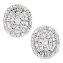 Genuine 14K White Gold 2.37ctw Diamond Earrings