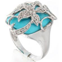 Genuine 18K White Gold 5.58ctw Turquoise & Diamond Ring