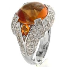 Genuine 14K White Gold 8.07ctw Citrine & Diamond Ring