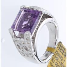 Genuine 18K White Gold 6.90ctw Amethyst & Diamond Ring