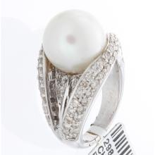 Genuine 18K White Gold 13.60ctw Pearl & Diamond Ring