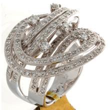 Genuine 18K White Gold 1.52ctw Diamond Ring