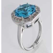 Genuine 18K White Gold 5.99ctw Topaz & Diamond Ring