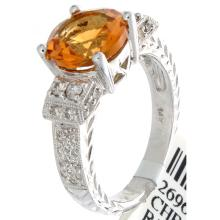 Genuine 14K White Gold 2.84ctw Citrine & Diamond Ring