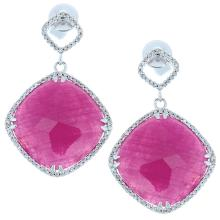Genuine 14K White Gold 21.58ctw Ruby & Diamond Earrings