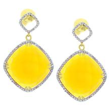 Genuine 14K Yellow Gold 24.79ctw Lemon Quartz & Diamond Earrings