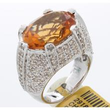 Genuine 18K White Gold 10.71ctw Citrine & Diamond Ring