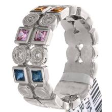 Genuine 18K White Gold 0.94ctw Rainbow Sapphire & Diamond Ring