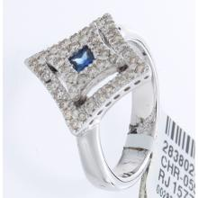 Genuine 14K White Gold 0.61ctw Sapphire & Diamond Ring