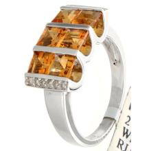 Genuine 14K White Gold 1.98ctw Citrine & Diamond Ring
