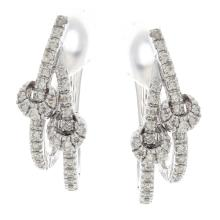 Genuine 14K White Gold 1.01ctw Diamond Earrings