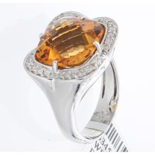 Genuine 14K White Gold 6.66ctw Citrine & Diamond Ring