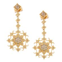 Genuine 14K Yellow Gold 0.33ctw Diamond Earrings