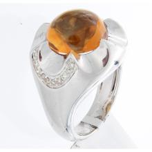 Genuine 14K White Gold 7.12ctw Citrine & Diamond Ring