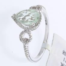 Genuine 14K White Gold 1.59ctw Green Amethyst & Diamond Ring