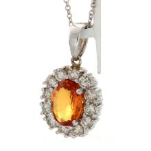 Genuine 14K White Gold 2.21ctw Orange Sapphire & Diamond Pendant