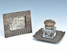 Matching English Silverplate Inkwell and Calendar