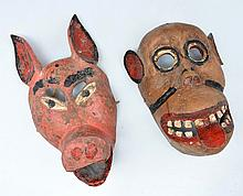 Lot of 2 Mexican Masks, Pig (13
