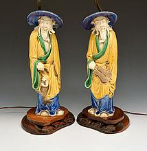 Chinese Glazed Mudmen Figural Lamps, 13