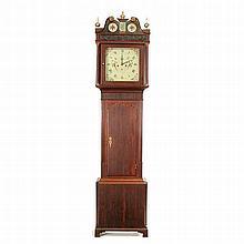 English Mahogany Tall Clock, Painting On Glass