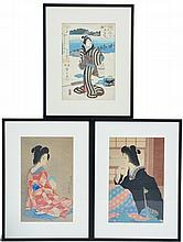 3 Japanese Geisha Woodblocks