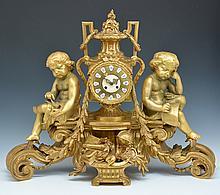 Monumental French Gilt Bronze Mantle Clock, 32.5