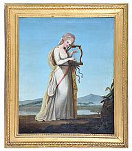 18th C. Continental School, Woman Playing a Harp, o/c