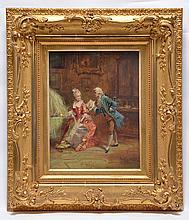 S. Sultivany (Paris 19th c), The Gallant Visitor, oil/ canvas