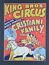 Original Circus Poster Art, King Bros., tempera