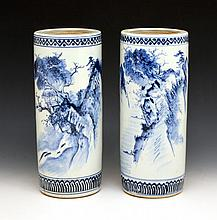 Chinese Pair of Blue and White Hat Stands, 12