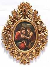 Italian School, 19th c., Family, oil/ canvas, unsigned